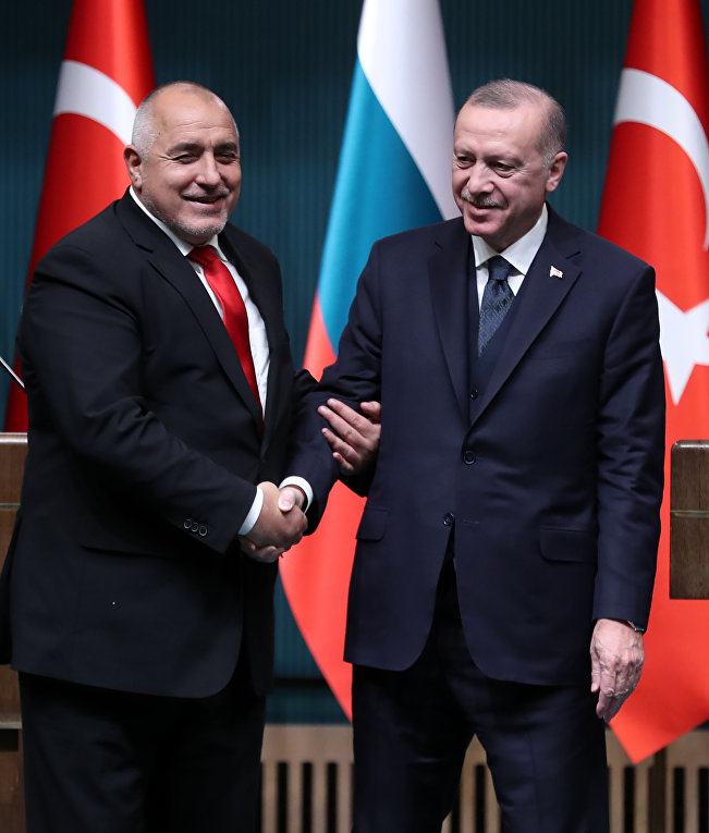 Президент Турции Реджеп Тайип Эрдоган и премьер-министр Болгарии Бойко Борисов во время встречи в Анкаре, Турция
