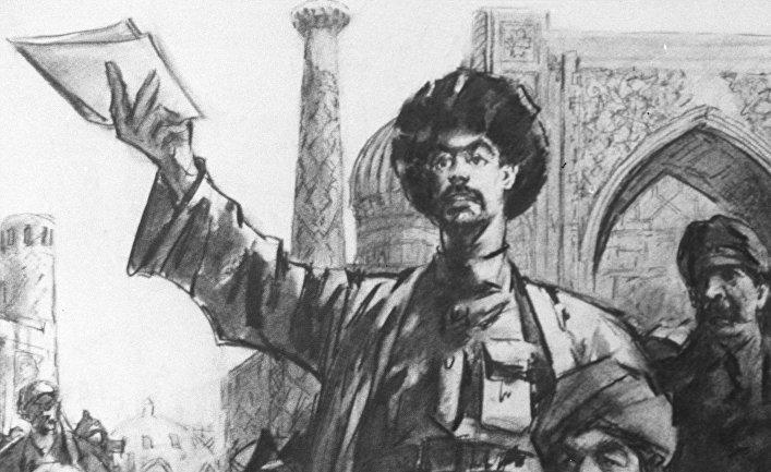 "Картина художника Л. Абдуллаева ""Ленин и Туркестан"""