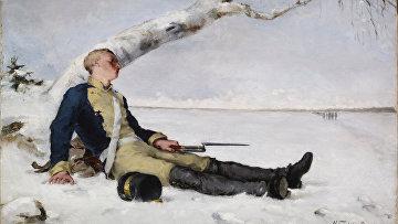 Раненый шведский солдат на снегу, Хелена Шерфбэк, 1880