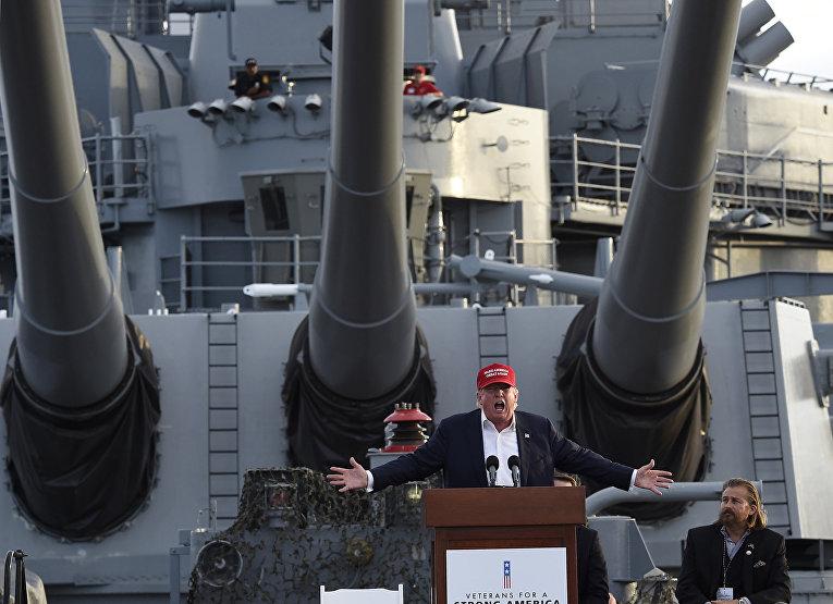 Кандидат в президенты США от Республиканской партии Дональд Трамп произносит речь