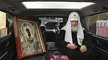 Патриарх Кирилл с иконой Божией Матери в Москве