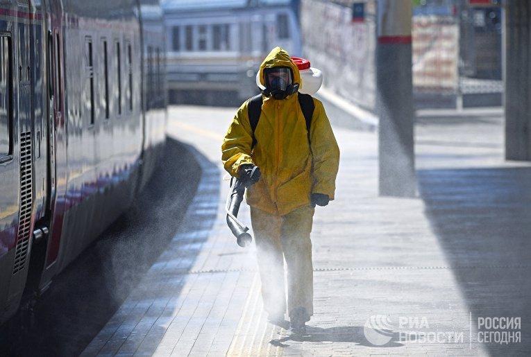 Дезинфекция Курского вокзала в Москве