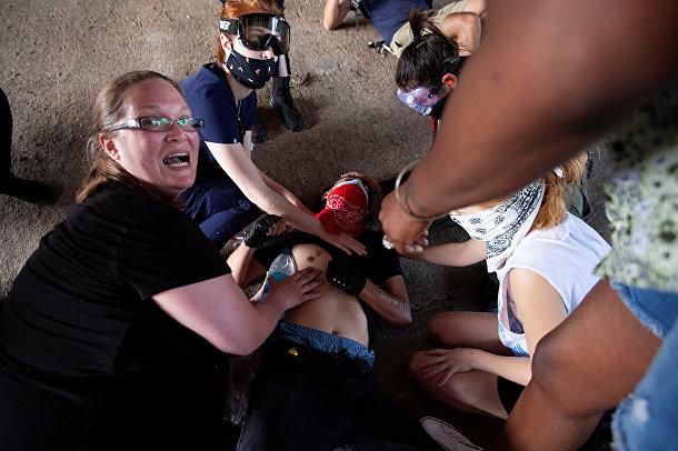 Демонстрант, раненный полицией в Остине