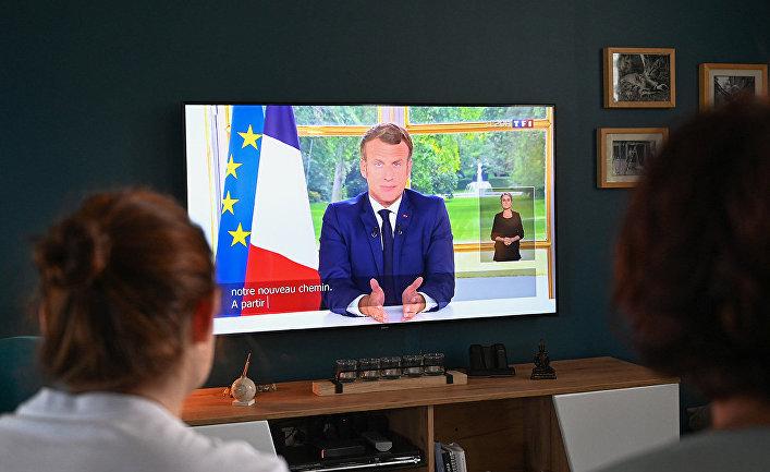 Выступление президента Франции Эммануэля Макрона