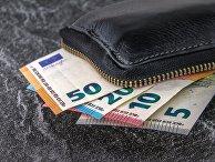 Кошелёк с банкнотами евро