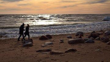 Побережье Финского залива в курортном районе Санкт-Петербурга