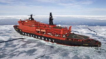 """Атомный ледокол """"50 лет Победы"""" в Северном Ледовитом океане"""