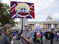 Участники акции против Brexit в Лондоне держат плакат с изображением Бориса Джонсона