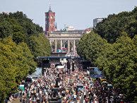 1 августа 2020. Демонстрация в знак протеста против ограничений из-за пандемии коронавируса, Берлин, Германия