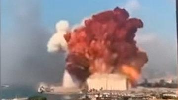 Момент взрыва в Бейруте