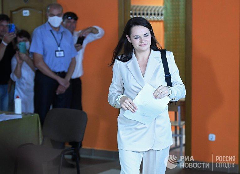 Светлана Тихановская на выборах президента Белоруссии 9 августа
