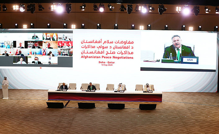 """Госсекретарь США Майк Помпео во время переговоров между афганским правительством и повстанцами движения """"Талибан"""" в Дохе"""