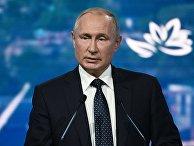 Президент РФ Владимир Путин выступает на пленарном заседании V Восточного экономического форума во Владивостоке