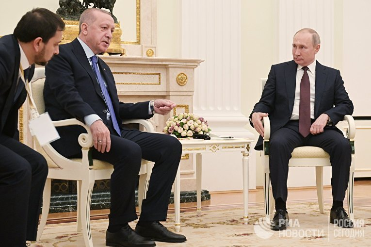 Президент РФ В. Путин встретился с президентом Турции Р. Эрдоганом