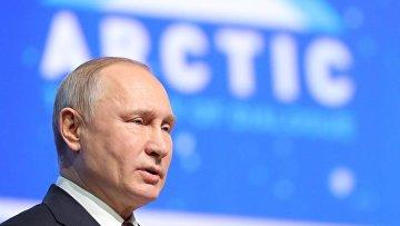 Президент РФ Владимир Путин выступает на пленарном заседании V Международного арктического форума «Арктика – территория диалога» в Санкт-Петербурге