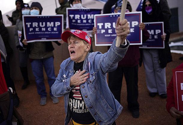 Сторонница президента США Дональда Трампа во время протеста в Лас-Вегасе