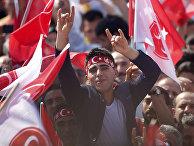 Сторонники турецкой националистической организации «Серые волки» на митинге в Стамбуле, Турция