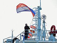 """Подъем флага на российском атомном ледоколе """"Арктика"""""""