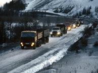 Автоколонна на Колымской автомагистрали