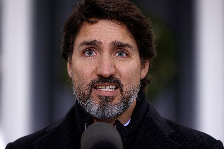 Премьер-министр Джастин Трюдо на пресс-конференции в Оттаве, Канада