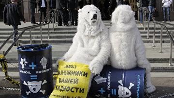 Акция Гринпис у офиса нефтяной компании Statoil в Москве