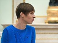 Президент Эстонии Керсти Кальюлайд во время встречи с президентом РФ Владимиром Путиным