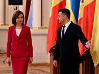 Президент Украины Владимир Зеленский и президент Молдавии Майя Санду во время встречи в Киеве