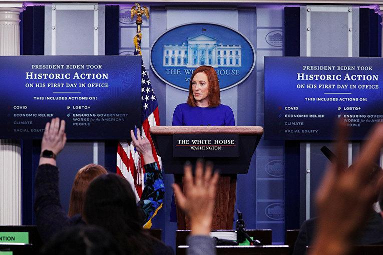 Пресс-секретарь Белого дома Джен Псаки отвечает на вопросы журналистов в Белом доме