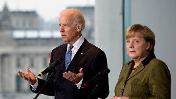 Вице-президент США Джо Байден и канцлер Германии Ангела Меркель, 1 февраля 2013 года