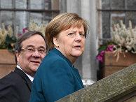 Канцлер Германии Ангела Меркель и премьер-министр земли Северный Рейн-Вестфалия Армин Лаше