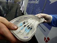 Работа центра вакцинации от коронавируса в Вене