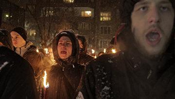 Болгарские ультраправые националисты во время акции в память пронацисткого генерала Христо Лукова в Софии