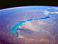 Вид на озеро Балхаш в Казахстане из космоса