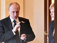 Владимир Путин и Ангела Меркель перед совместной пресс-конференцией в Кремле
