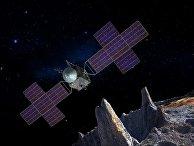 Космический корабль НАСА изучает астероид Психея в представлении художника