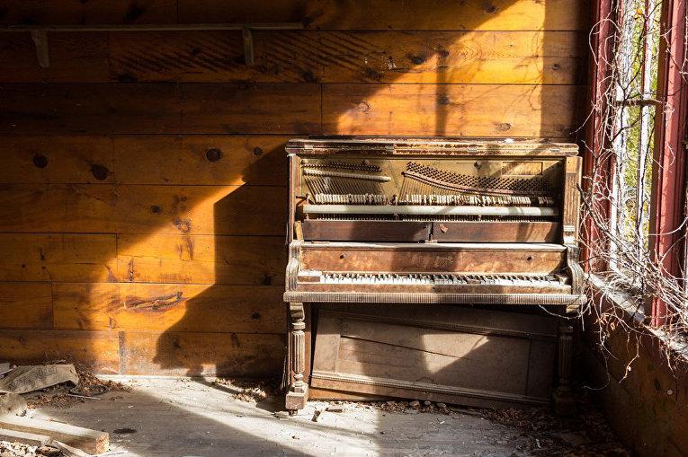 Старинный орган в заброшенном парке развлечений в г. Уичито, Канзас
