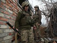 Украинские военные на линии разграничения между ДНР и Украиной