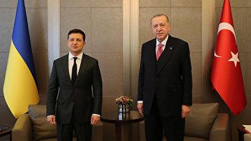 Президент Турции Тайип Эрдоган и президент Украины Владимир Зеленский во время встречи в Стамбуле