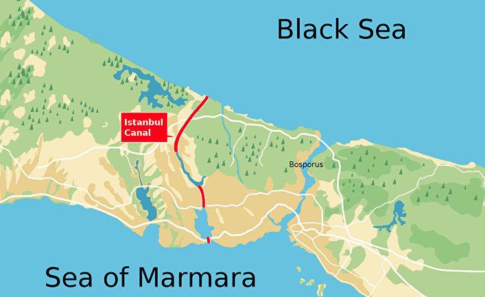 Утверждённый вариант проекта канала Стамбул (2018)