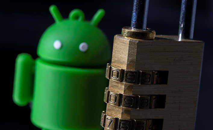 Логотип Android и кодовый замок