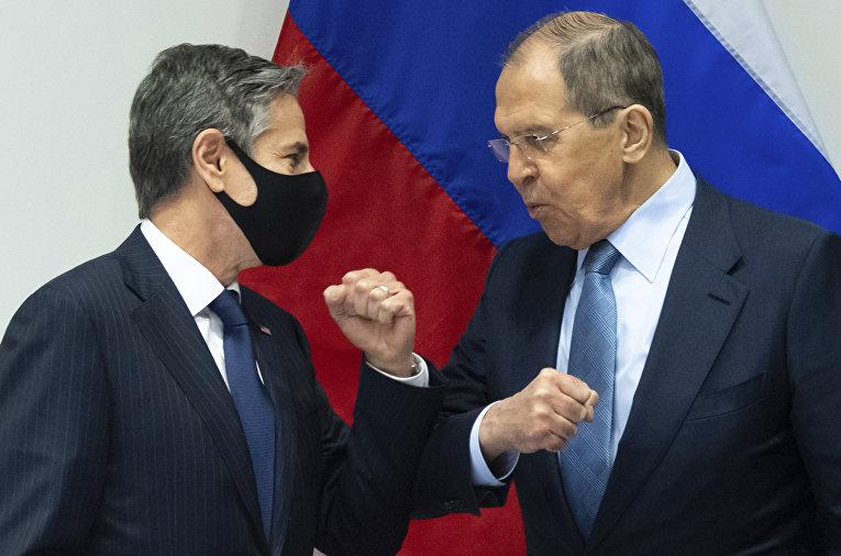 Министр иностранных дел РФ Сергей Лавров и государственный секретарь США Энтони Блинкен
