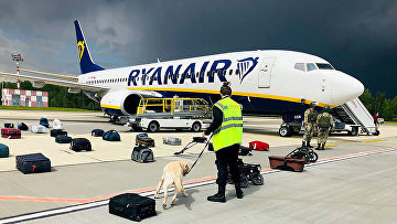 Кинолог проверяет багаж пассажиров самолета Ryanair Boeing 737-8AS на перроне международного аэропорта Минск