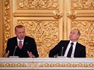 Президент РФ В. Путин встретился с президентом Турции Р. Т. Эрдоганом