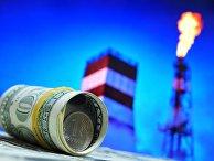 Денежные купюры США и монета номиналом один рубль