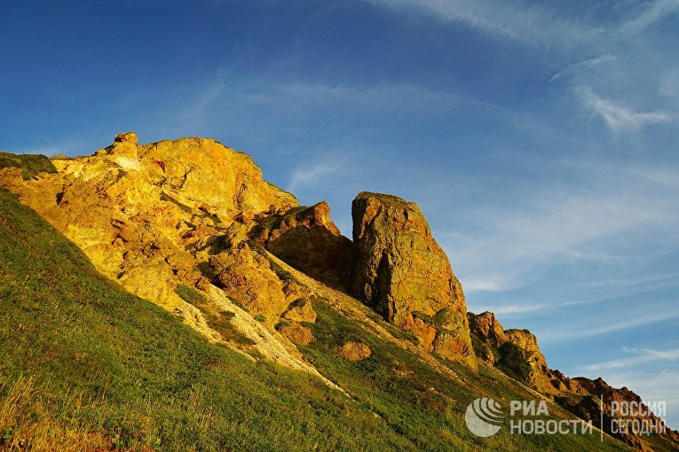 Разлом каолинитового метасоматита на острове Уруп