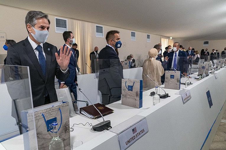 Государственный секретарь США Энтони Блинкен на встрече министров иностранных дел G20