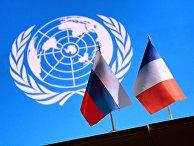 Государственные флаги России и Франции