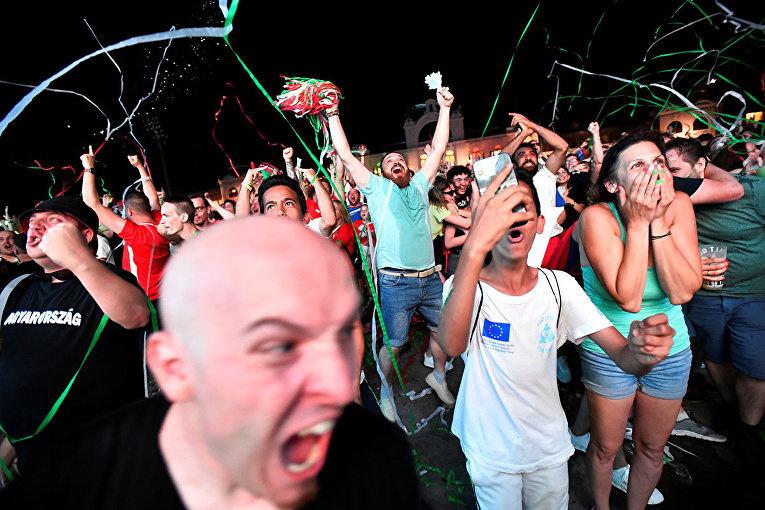 Венгерские фанаты в Будапеште