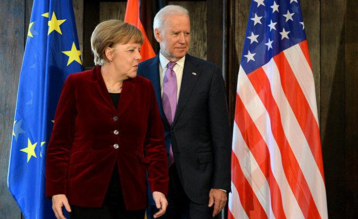 Канцлер Германии Ангела Меркель и вице-президент США Джо Байден, 2015 год