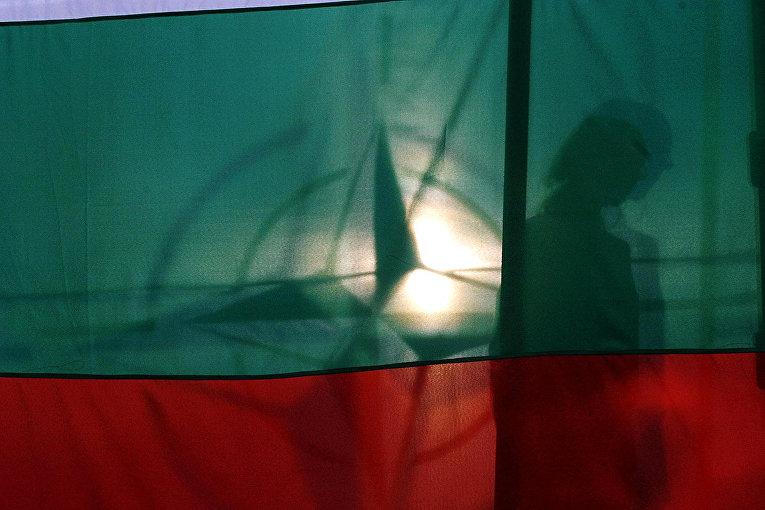 Силуэт на фоне флагов Болгарии и НАТО в Софии